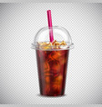 cola with ice realistic transparent vector image vector image