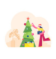 cute smiling woman in santa claus hat holding box vector image