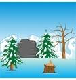 Deserted winter landscape vector image vector image