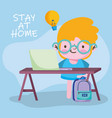 education online student boy studying with vector image vector image