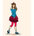 Elegant fashionable girl teenager in dress vector image