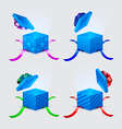 four gift boxes and flying cap with ribbons and vector image vector image