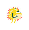 funny yellow barbed cartoon monster fabulous vector image