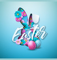 happy easter holiday design with painted egg vector image