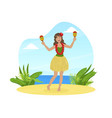 hawaiian young woman in traditional skirt of vector image vector image
