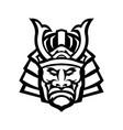 head samurai warrior wearing mengu or mempo vector image