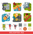 helicopter pad landing ground landing area vector image vector image