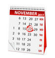 holiday calendar for thanksgiving day 2017 vector image