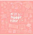 hygge hand drawn doodle icon set vector image vector image