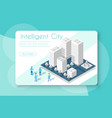 isometric city with skyscraper vector image vector image