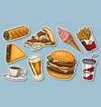 junk fast food burger and hamburger tacos and vector image