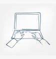 laptop hands one line design element isolated vector image