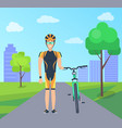 male with bike in special uniform city park vector image vector image