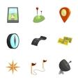 Map navigation icons set cartoon style vector image vector image
