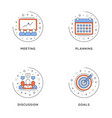 meeting planning discussion goals set 4 flat vector image