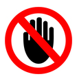 No entry hand sign vector image vector image