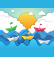 paper boat origami water waves with shadows from vector image