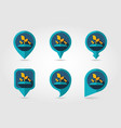 plant sprout flat mapping pin icon with long vector image vector image