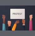 raised up hands silhouette holding white banner vector image