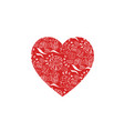 red heart shape with floral pattern for love vector image vector image