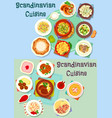scandinavian cuisine icon set with fish and meat vector image vector image