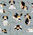 seamless pattern with funny beagle active dog vector image