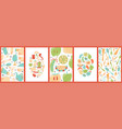 set cute creative card with fruits vector image