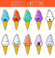 Set of 10 colored doodle ice cream with emotions vector image vector image