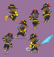 set of firefighters vector image vector image