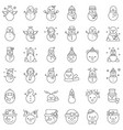 snowman icon set for christmas and winter theme vector image vector image