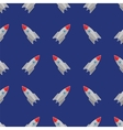 Space Rocket Flying on Blue Sky Seamless Pattern vector image