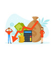 tiny people with graph falling purse and money vector image