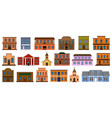 wild west buildings on white vector image vector image