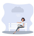 woman sitting bench with notebook cloud vector image