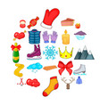 xmas icons set cartoon style vector image vector image