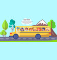 yellow school bus wiith small students poster vector image vector image