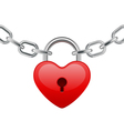 red shiny heart lock shape on chain vector image