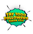 1000 follower success template in comic style vector image vector image