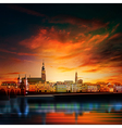 abstract sunset background with panorama of vector image vector image