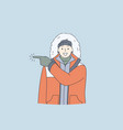 adventurer expedition winter traveling concept vector image