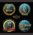 anniversary gold and blue labels and badges 10 vector image vector image