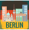 Attractions Berlin on German flag background grung vector image vector image
