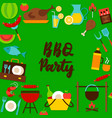 bbq party lettering postcard vector image vector image