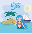 beautiful and magic mermaid cartoon vector image vector image