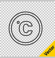 Black line celsius icon isolated on transparent