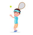 boy tennis player throws ball to hit vector image vector image
