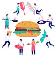 burger cooking flat style design vector image