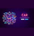 car transport neon banner design vector image vector image