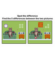 cartoon brown bear find the differences vector image vector image