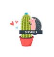 censored hedgehog in love flat vector image